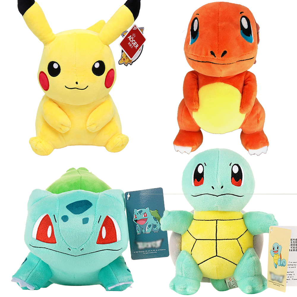 Plush Toys Animation Derivatives Plush Doll Pikachu Charmander Squirtle Bulbasaur Delicate Stuffed Toy Collection Birthday Gifts