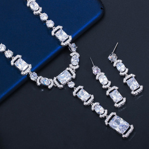 Image 2 - CWWZircons Luxury Long Dangle Drop Dark Blue Cubic Zirconia Women Party Earrings Necklace Bridal Wedding Jewelry Sets T356