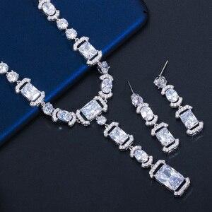 Image 2 - CWWZircons luksusowe długi dynda spadek ciemny niebieska cyrkonia sześcienna kobiet Party kolczyki naszyjnik biżuteria ślubna dla nowożeńców zestawy T356