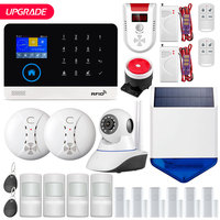 On Sale!! FUERS Upgrade PG103 WIFI GPRS SIM Home Security Alarm System Solar Flash Siren Smoke Gas Anti pet PIR Sensor RFID DIY