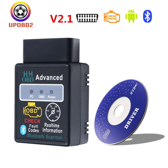 HH OBD elm327 V2.1 HHOBD Vgate Bluetooth ELM327 CAN Scanner Tool for OBD2 Protocols HHOBD elm 327 2.1 Code Reader For Android/PC