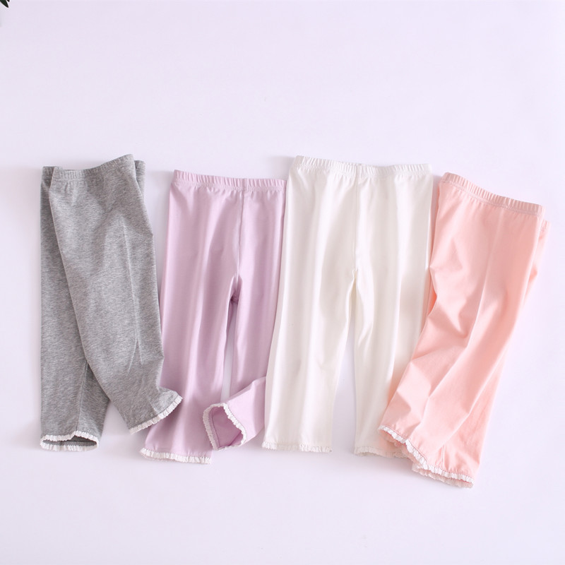 A Class Children Home Pants Cotton Girls Candy-Colored Lace Edge Leggings Baby Anti-Exposure Knicker