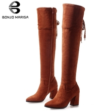 BONJOMARISA New Plus Size 32-47 Hot Sale Thigh High Boots Women 2019 Winter Warm Fur Over Knee Lady Heels Shoes Woman