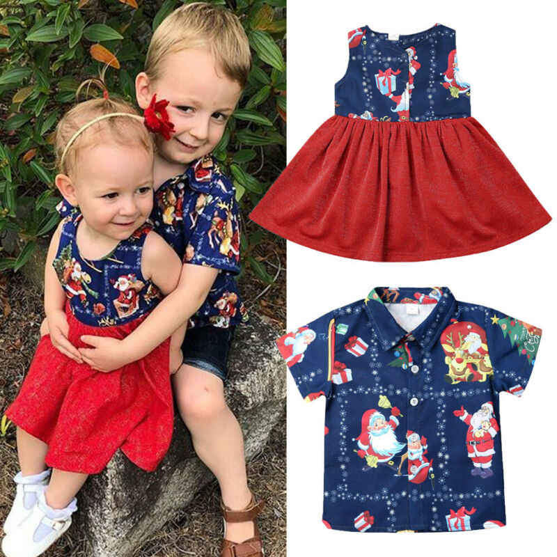 Christmas Baby Boys Girls Clothes Sister Brother Family Matching Outfits Cute Dress Brother Shirt Xmas Santa Cotton Costumes