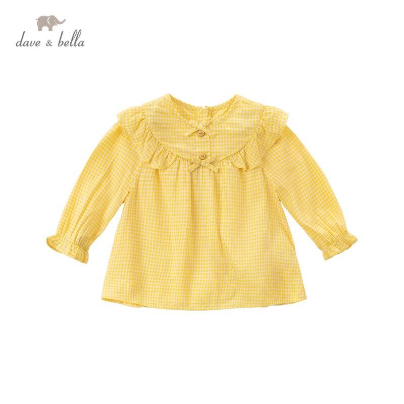 DBS16254, демисезонная модная клетчатая рубашка с бантом для маленьких девочек, топы для малышей, детская одежда высокого качества|Блузки и рубашки| | АлиЭкспресс