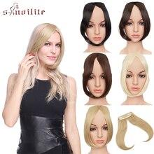 S-noilite 9 дюймов Пряди для челки с креплением в средней части боковые пряди на заколках для наращивания Для женщин Bang искусственные волосы синтетический верх спереди наращивание натуральных волос