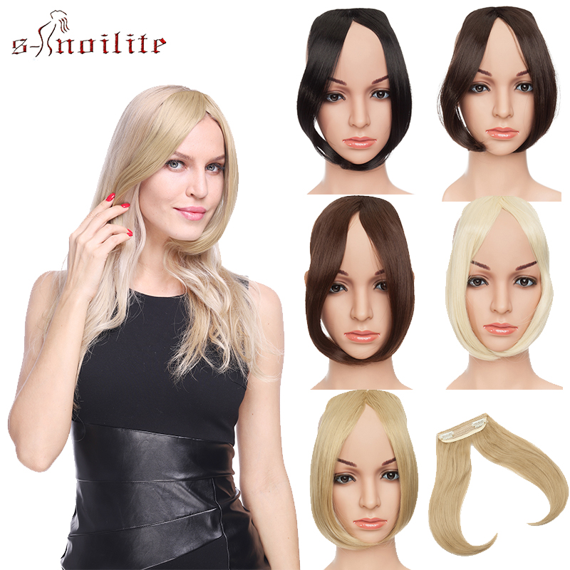 S-noilite Middle Part Hair Bangs Clip On Bangs Hairpieces Synthetic Clip In Hair Extension Top Hair Piece For Women Fake Hair