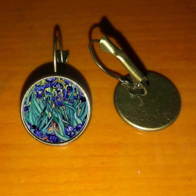 אופנה כסף צבע פשוט סגנון עגילי ואן גוך מפורסם אמן ליל כוכבים עגילי זכוכית קרושון תכשיטי נשים מתנות