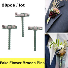 20 Pcs Plastic Metalen Broches Unisex Kraag Pinnen Nep Bloem Broche Pins Vrouwen Mannen Broche Bruiloft Decor Tool Party levert(China)
