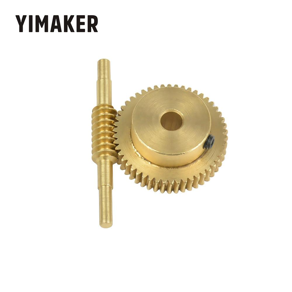 YIMAKER  0.5m Modulus 50 Teeth Copper Worm Wheel Gear Large Reduction Ratio 1:50 Hole 5mm 6mm Shaft Worm Turbine Motor Gears