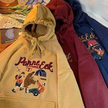 Осенне-зимняя новая Повседневная Толстовка с капюшоном с мультяшной вышивкой в Корейском стиле, женский свободный пуловер, хлопковая толст...