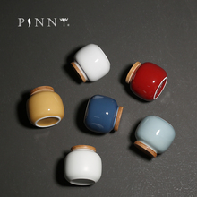 PINNY Mini Ceramic Bamboo Cover Tea Jar Pigmented Storage Chinese Kung Fu Accessories Containers
