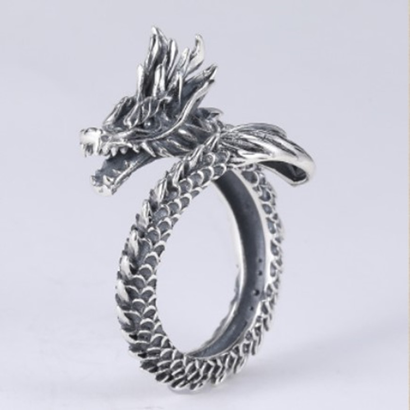 Domineering Dragon Head Retro Self-defense Ring Female Male Finger Blade Tiger Wolf Defense Fighting Weapon