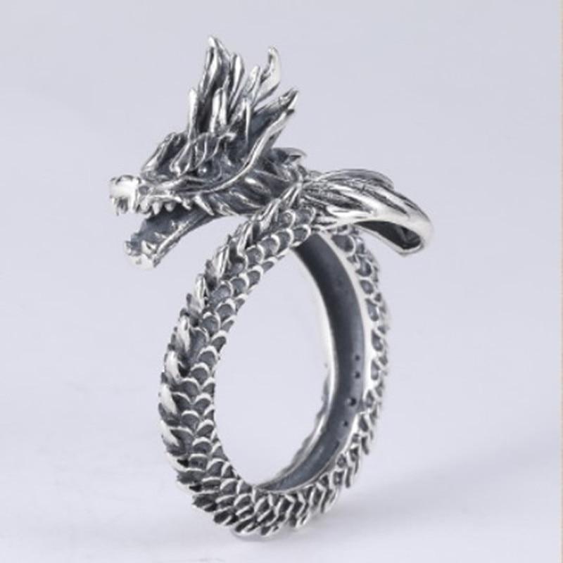 Domineering Dragon Head Retro Self-defense Ring Female Male Finger Blade Tiger Wolf Defense Fighting Weapon