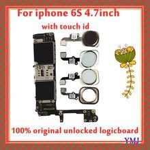 Dla iphone 6s płyta główna oryginał odblokowany z Touch ID, bezpłatny palca dla iphone 6s 16gb 64gb 128gb płyta logiczna z pełnymi chipami
