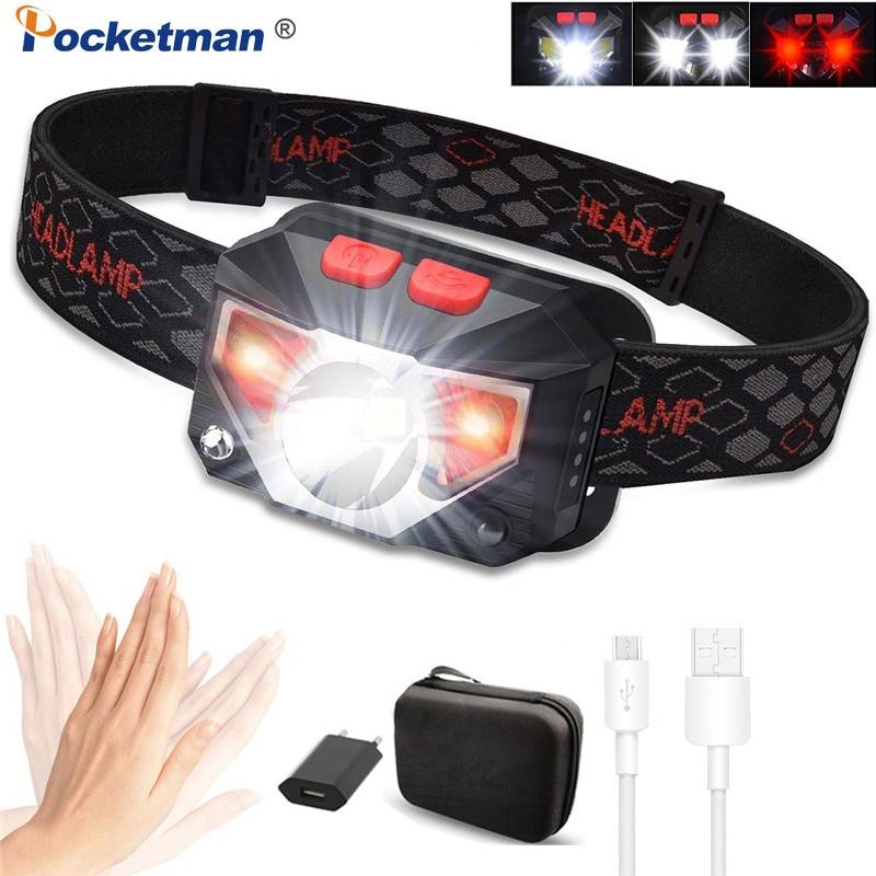 Mini Powerful LED Headlamp T6+COB LED Rechargeable Body Motion Sensor Flashlight Head Light Torch Lamp With USB Camping Fish