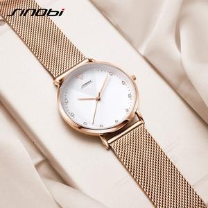 Image 4 - Sinobi ファッションゴールデン女性のダイヤモンド腕時計トップの高級ブランド女性ジュネーブクォーツ時計女性のブレスレット腕時計