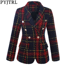 PYJTRL Women's Double Breasted Plaid Tweed Wool Blazer Outer Coat