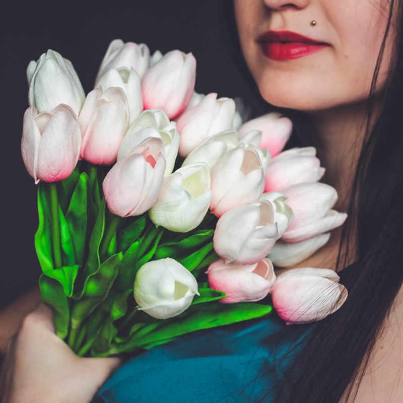 Frete grátis 31 pçs/lote pu mini tulipa flor do casamento real toque buquê de flores artificiais flores de seda para decoração de casa partido