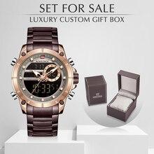 Mannen Horloge NAVIFORCE Top Luxe Merk mannen Sport Militaire Horloges Volledige Staal Waterdicht Quartz Digitale Klok Set Voor Verkoop