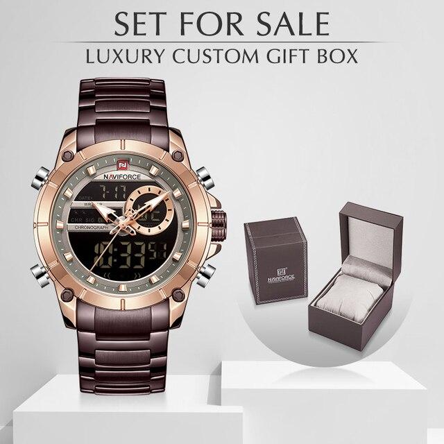 גברים שעון NAVIFORCE למעלה יוקרה מותג גברים של ספורט צבאי שעונים מלא פלדה עמיד למים קוורץ הדיגיטלי שעון סט למכירה