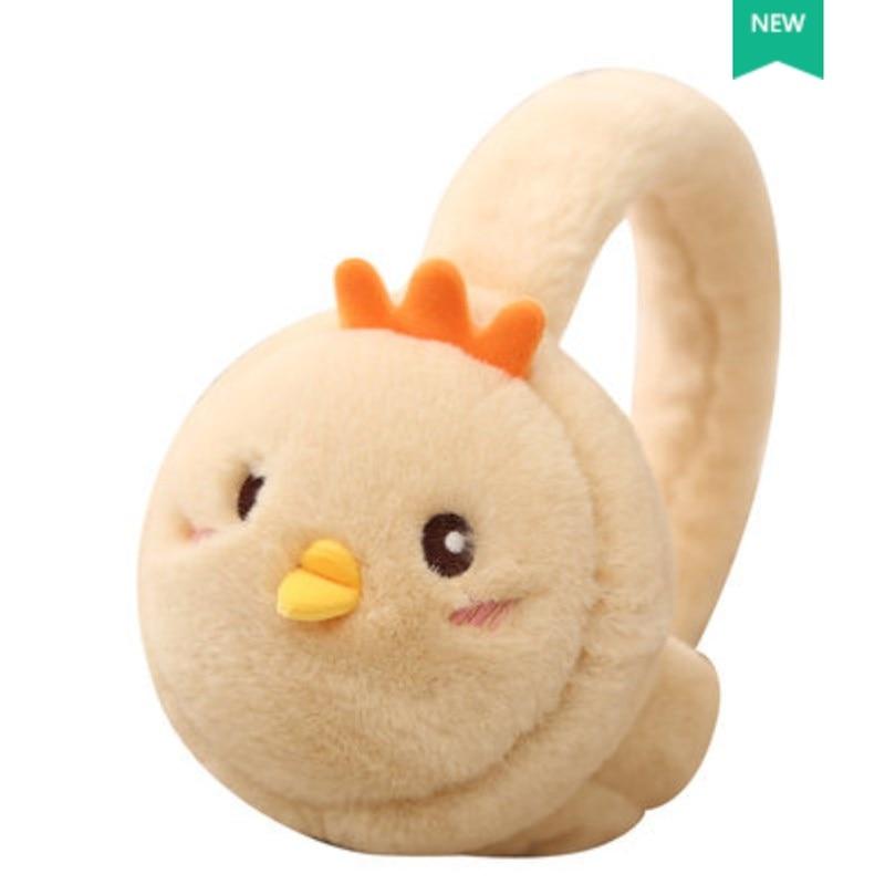 Foldable!New Warm Earmuffs Cute Cartoon Chicken Fur Ear Winter Muff Ear Cover For Women Children Ear Warmer Soft Ears Covering