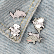 High quality brooch lady Cowboy badge cute shark style alloy accessories Happy Halloween party gift punk pin