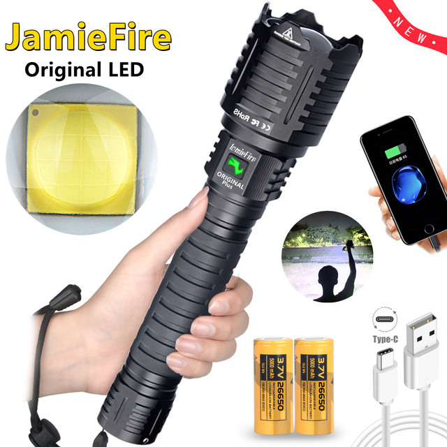 [ JamieFire LED]Flashlight Powerful Flash Light Brightest Lantern Zoomable 26650 Camping USB Rechargeable Tactical Hunting Torch 6