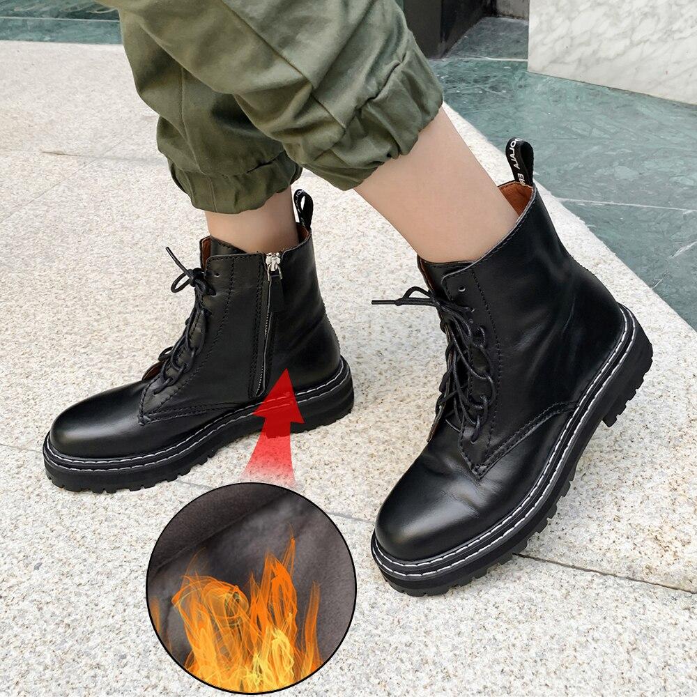 De talla grande 34 43 nuevos zapatos Martin de cuero genuino para mujer con cremalleras botas casuales botas de invierno abrigadas con cordones botas de moda para damas