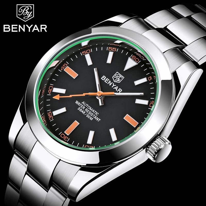 BENYAR New Men Automatic Watches Men Stainless Steel Business Wristwatch Top Luxury Brand Waterproof Mechanical Men Clock 2020
