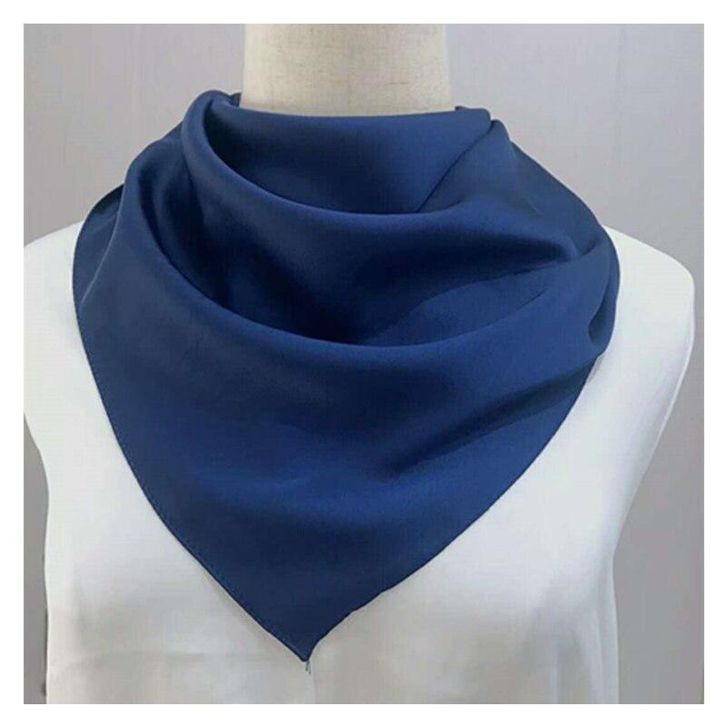 70*70cm Bandana Head Scarf For Women Silk Satin Hair Scarfs Female Cute Handkerchief Neck Scarves For Ladies Green Black White