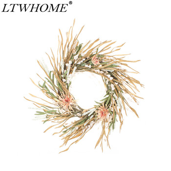 LTWHOME WHAU 22 Inch Artificial Handmade Wreath with Chrysanthemums, Dry Leaves and Flowers for Front Door, Wall, Mantelpiece