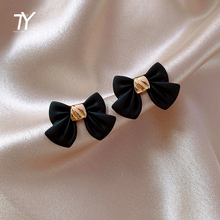 2020 new classic elegant black bow tie versatile Earrings women's jewelry Korean sexy girl party Earrings Fashion Accessories