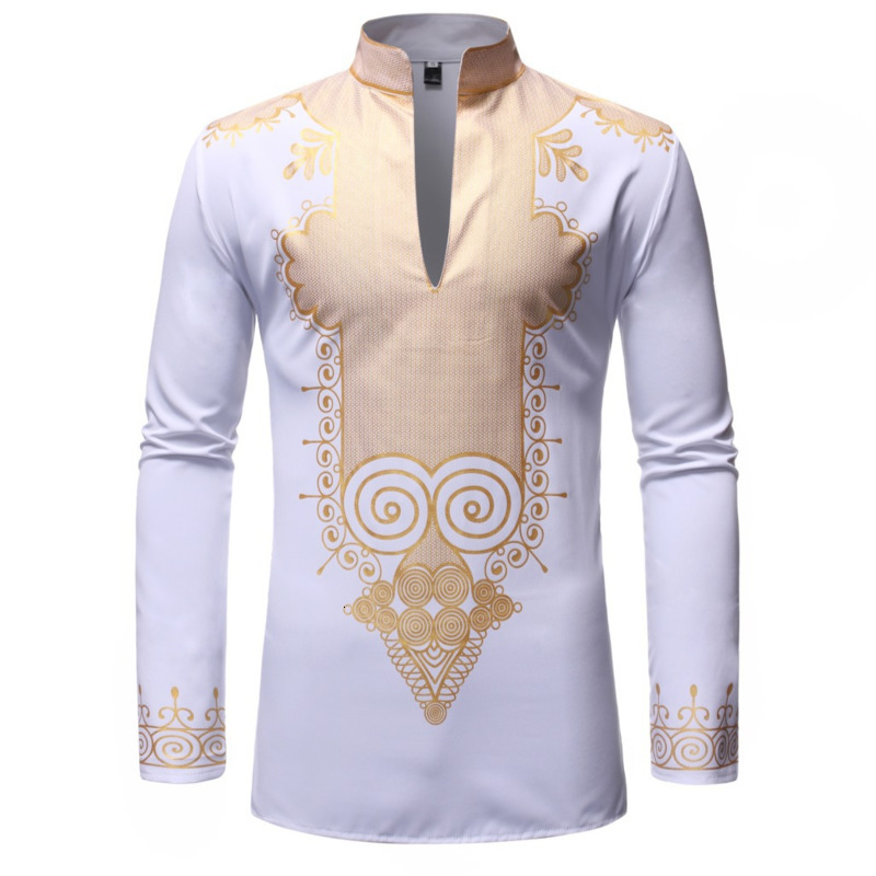 Men Muslim Short Shirts European Code Male Gilding Printing Stand Lead Long Sleeve Classic Shirt Retro Fashional African Clothes