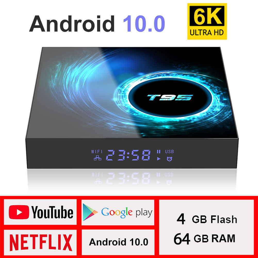 2020 del NUOVO TV Box Android 10.0 Netflix Youtube HD 6K Android TV Box di Google Assistente Vocale LEMADO Smart TV box Android 10 T95