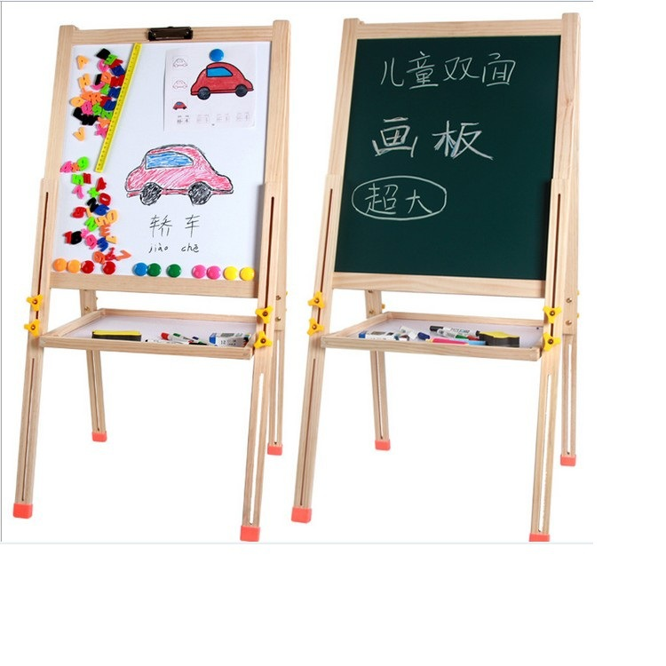 CHILDREN'S Drawing Board Height Adjustable Folding Bracket Painted Description Element Board Double-Sided Magnetic Blackboard Wh