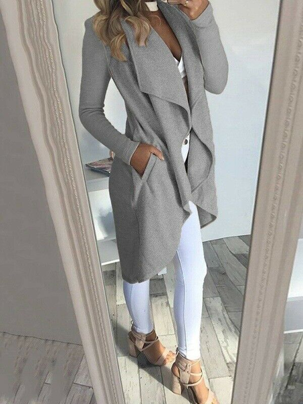 2019 Autumn Womens Long Waterfall Open Front Coat Jacket Ladies Cardigan Overcoat Jumper Plus Size S-2XL