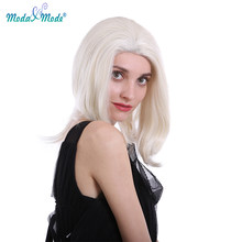 "Moda & Mode hair 18"" White Silk Straight Synthetic Lace Front Wigs Natural Hairline Daily Wigs for African America Women(China)"