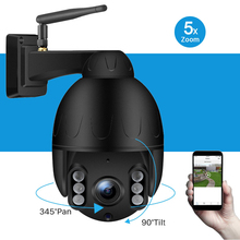 Outdoor Surveillance Camera IP66 Waterproof Mini Wireless PTZ 5X Optical Zoom 1080P HD Wifi Two Way Audio 50M Night Vision