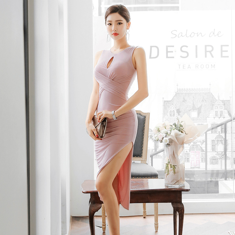 Sleeveless Hollow Out Backless Formal Dress Women's 2019 New Style Sexy Slim Fit Cross Miumiu Bag Hip Slit Banquet Dress