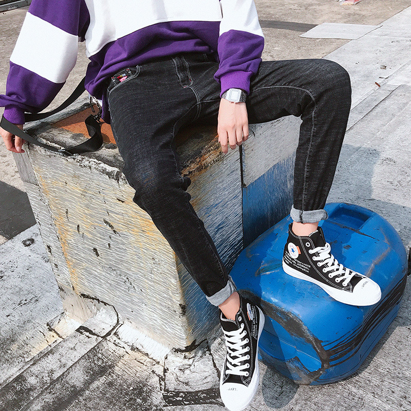 MEN'S Jeans Korean-style Trend Skinny Popular Brand 2019 New Style Fashion Autumn And Winter Summer Thin Section Long Pants Summ