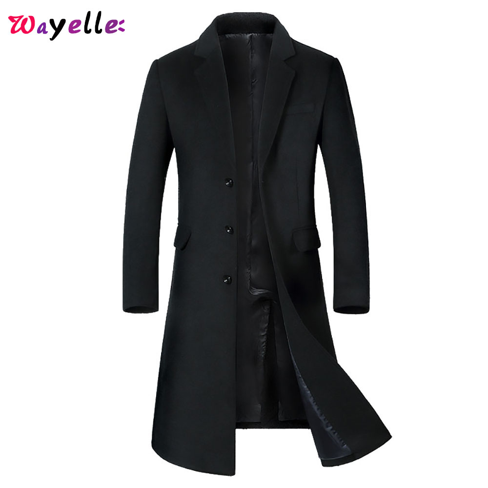 England Wool Coat Men 2019 Winter Fashion Woolen Long Jacket Coat Men Overcoats Thick Warm Slim Fit Long Trench Coat Men Peacoat
