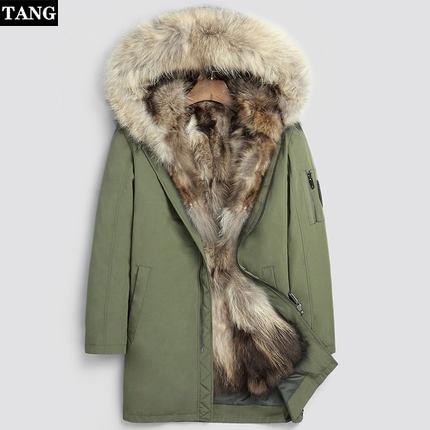 Fashion Women's Real Rabbit Fur Lining Winter Jacket Coat Scorpion Fur Collar Detachable Hooded Long Designer Clothes DHL 5-7