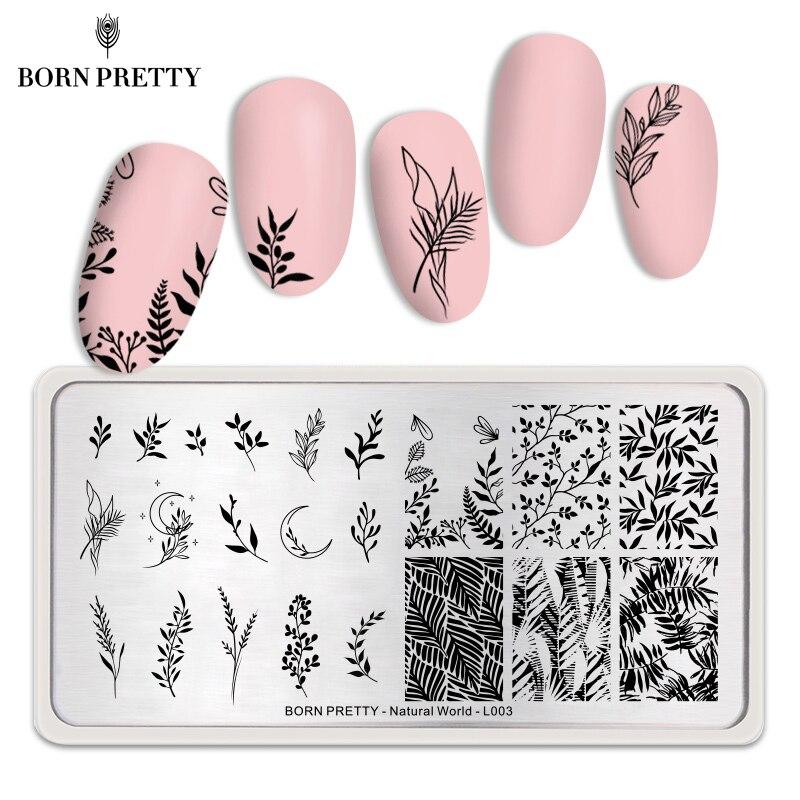 Nascido belas placas de estampagem de unhas, simples operação, folha, arte para unhas, modelo de carimbo, unha, diy ferramentas mundo natural l003