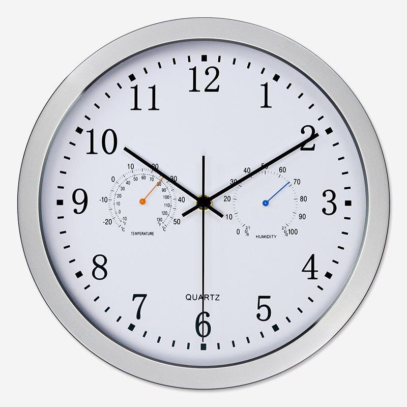 2018 Silent Quartz Metal Wall Clock Thermometer Hygrometer Quiet Sweep Movement No-ticking Home Art Decor New Design
