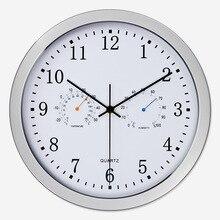 Бесшумные Кварцевые Металлические настенные часы с термометром, гигрометром, бесшумным механизмом, без тиканья, домашний декор, дизайн