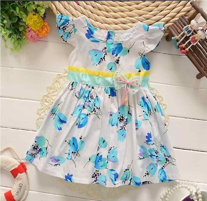 BibiCola יילוד ילדה קיץ שמלת 2018 חדש מותג נסיכת ילד בנות שמלות ללא שרוולים תינוק כותנה פסי בגדים