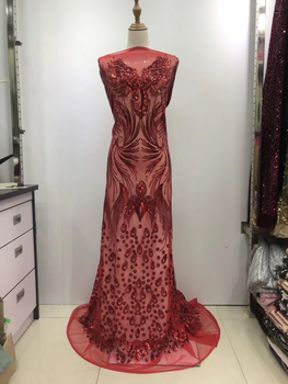 African Lace Fabric 2019 High Quality French Lace For Bridal Wedding Fabric Nigerian Red Tulle Lace Fabric With Sequins KJL9710A