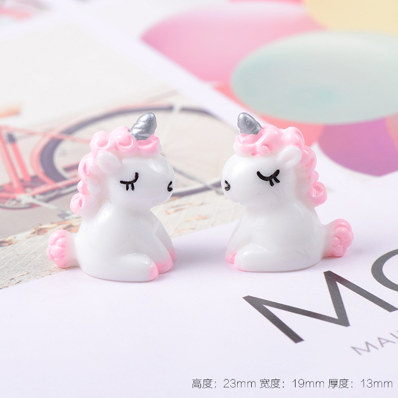 Creative Children's Toys Resin Unicorn Clay Mold Popular Kids Interactive Tools Slime Fluffy Charm Filler Doll House Decoration