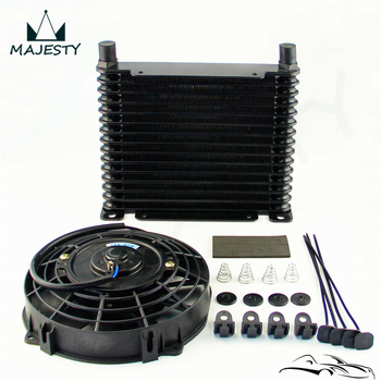 "AN10 32mm Aluminum 17 Row Engine/Transmission Racing Oil Cooler +7"" Electric Fan Kit Black"